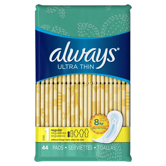 Always Ultra Thin Size 1 Regular Pads Without Wings, Unscented 44 count