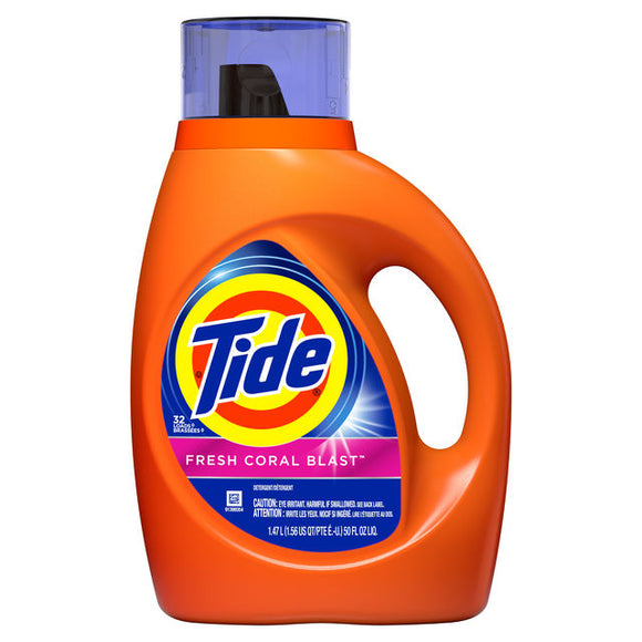 Tide Liquid Laundry Detergent, Fresh Coral Blast, 32 loads 50 fl oz
