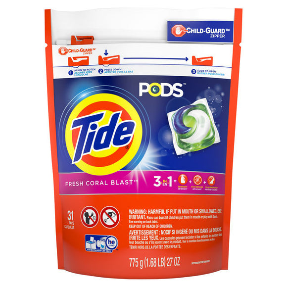 Tide PODS Liquid Detergent Pacs, Fresh Coral Blast, 31 count