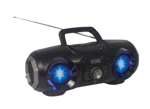 Portable Bluetooth®/MP3/CD/USB/FM PLL Stereo Boom Box with Disco LED Light