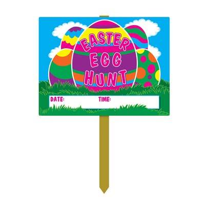 Plastic Easter Egg Hunt Yard Sign 11x15in (2pcs)