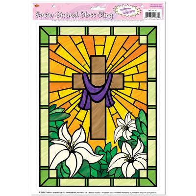 Easter Stained Glass Cling 12 x 17in Sheet (5pcs)