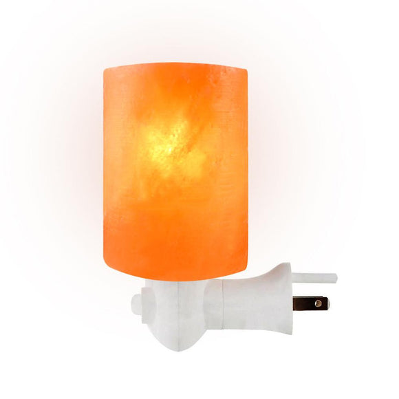 Natural Crystal Himalayan Salt Stone Night Bulb, Cylinder
