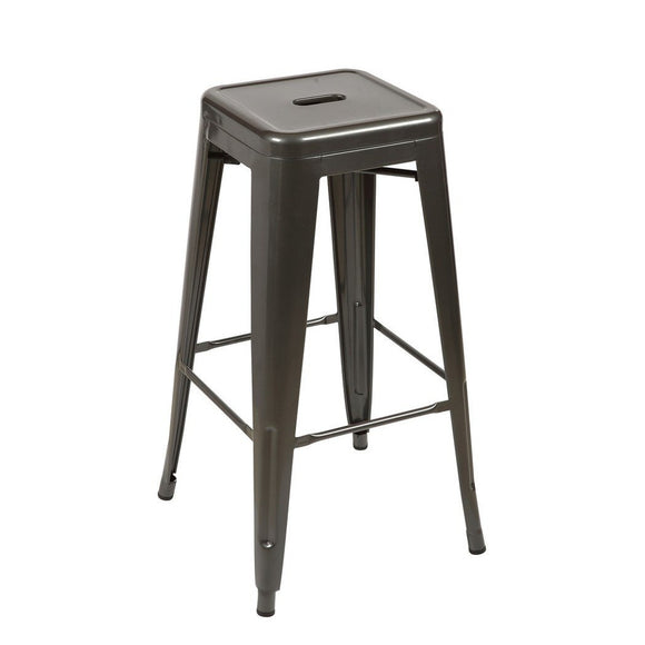 Tolix Style Counter Stool 66cm - Gunmetal - Reproduction | GFURN