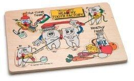 Healthy Tooth Factory Dental Peg Puzzle (Quality wood non-toxic silk-screen inks, 6 pieces)