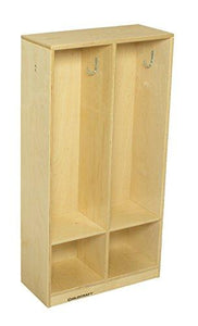 "Childcraft 2985 2-Section Coat Locker, 42"" Height, 9.63"" Width, 21.88"" Length, Natural Wood"