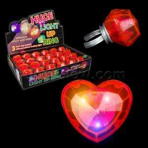Fun Central AD142 LED Jumbo Heart Rings - Red