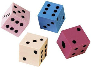 Lot Of 12 Assorted Color Dice Design Erasers - 1""