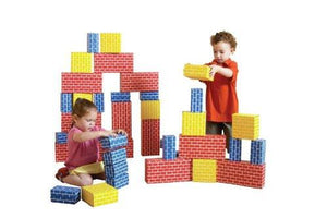 Childcraft Corrugated Multiple Sizes Blocks, Blue, Red and Yellow (Set of 84)