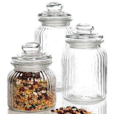 Gibson 91994.06  3 Piece Glass Canister Set, White