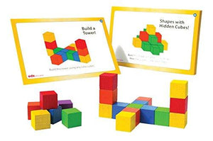 School Smart Color Cubes Activity Set with 18 Cards, 100 Cubes and Guide - Assorted Colors