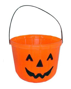 One Orange Plastic Pumpkin Jack O Lantern Design Trick Or Treat Bucket - 6""