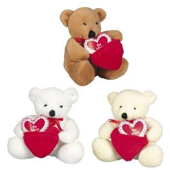Plush Valentine Bears With Pocket Hearts - Valentine's Day & Stuffed Animals & Toys