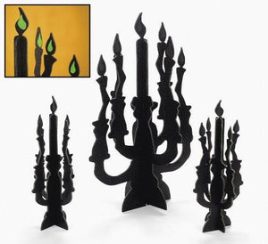 Candelabra Centerpieces with Glow-In-The-Dark Flames - Party and Events