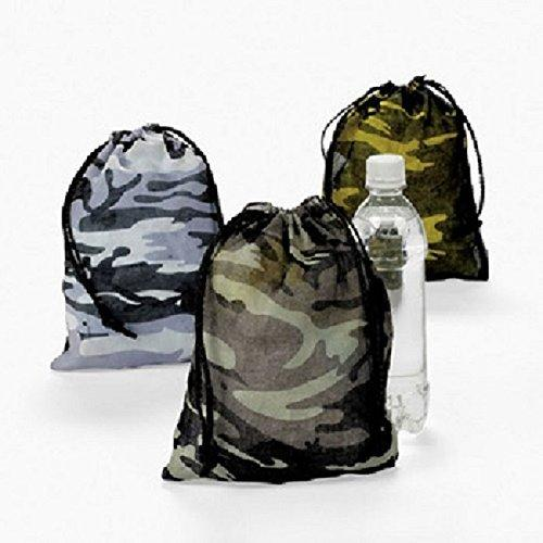Lot of 12 Camo Camouflage Polyester Drawstring Bags Loot Sack Party Favors