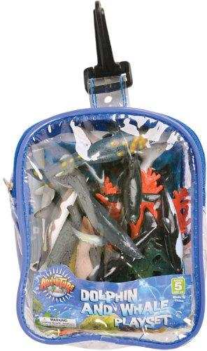 Ocean Dolphin and Whale Playset: 12 Piece Toy set in Clip Bag for Play on the GO!