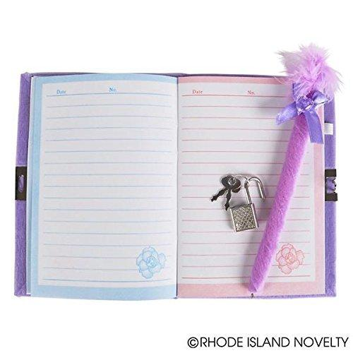 adorable diaries feature a plush cover and a heart Mirror to go along with a feathery pen (purple)