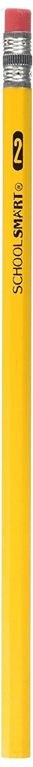 School Smart Hexagonal Pencils with Latex-Free Erasers, Number 2, Box of 144, Yellow