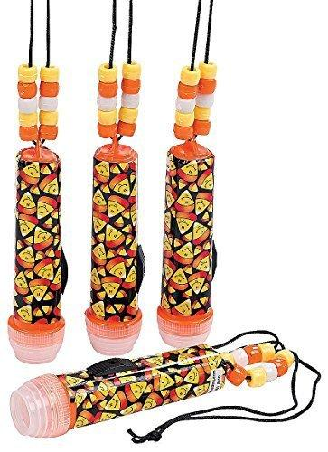 Plastic Mini Candy Corn Flashlights on a Rope (12 Pack) 3 1/2
