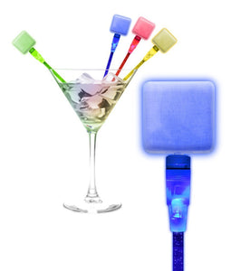 Fun Central O048 LED Square Cocktail Stirrers - Assorted - 12pcs