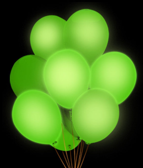 Fun Central AH944 LED Light Up 14 Inch Blinky Balloons - Green (5pcs)