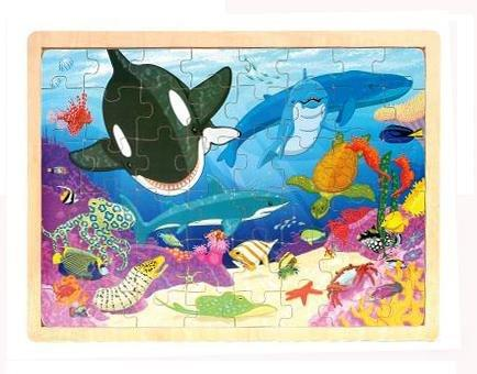 Wooden Aquatic Puzzle, 48-Piece