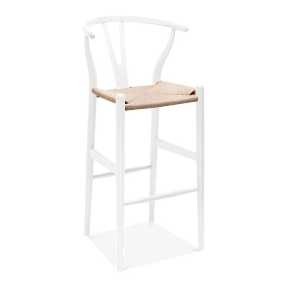 Wishbone Y Chair Bar Stool - White & Natural Paper Cord - Reproduction | GFURN