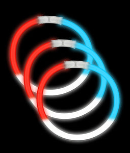 Fun Central P78 8 Inch Glow in the Dark Bracelets - Red-White-Blue 50 Count