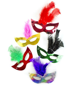 Fun Central AT769 Prismatic Feather Masks Assorted 6ct