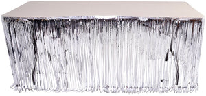 "Silver Metallic Foil Fringe Table Skirt 144"" x 30"" Party Decoration"