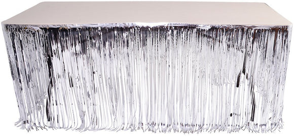 Silver Metallic Foil Fringe Table Skirt 144