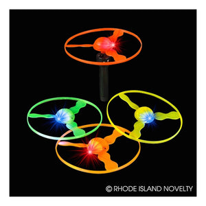Dozen Assorted Color Light Up LED Flying Disc Shooter Toys