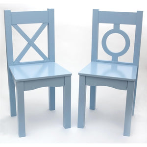"Lipper International 521-2BL Child's Chairs for Play or Activity, 12.75"" W x 12.5"" D x 27.25"" H, Set of 2, Light Blue"