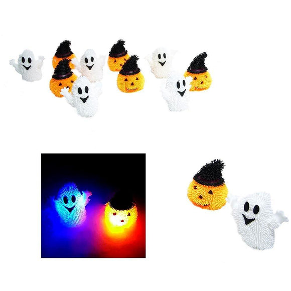 Assorted Light Up Squishy Halloween Stress Puffer Ball Release Squeeze Toys - 1 pc