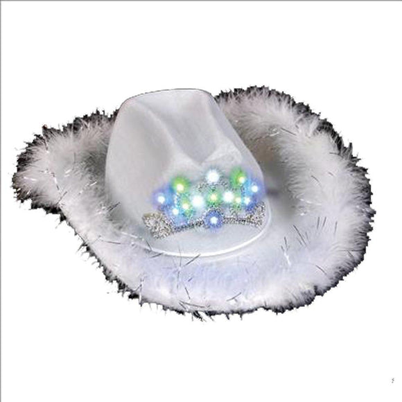 LED Feather Cowgirl Hat - White