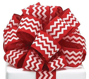 "Chevron Ribbon Red & White #9 Wired Woven, 1 1/2""w X 20 Yard Roll"