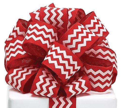 Chevron Ribbon Red & White #9 Wired Woven, 1 1/2