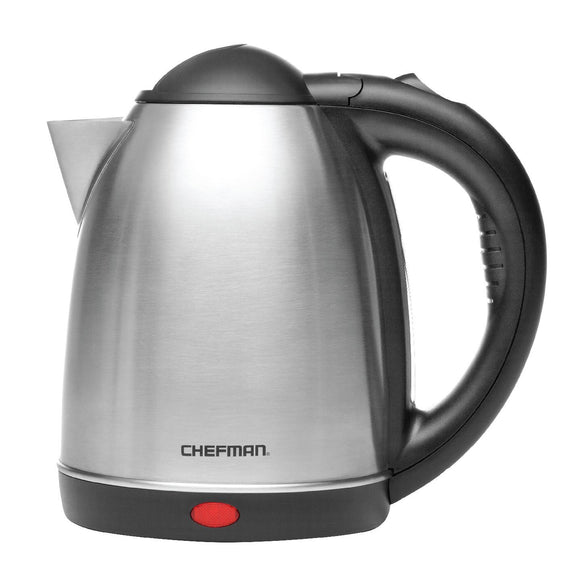 Chefman Cordless Electric Kettle, Stainless Steel Premium Grade 360 Degree Rotating Rapid Boil Tea Kettle, Boil Dry Protection and Easy-check Water View Window - 1.7Liter/1.8 Quart RJ11-17