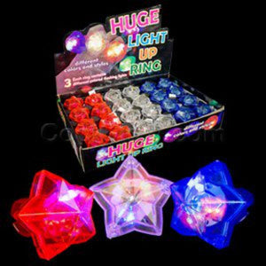 Fun Central AC696 LED Light Up Star Gem Rings - Assorted - 24pcs
