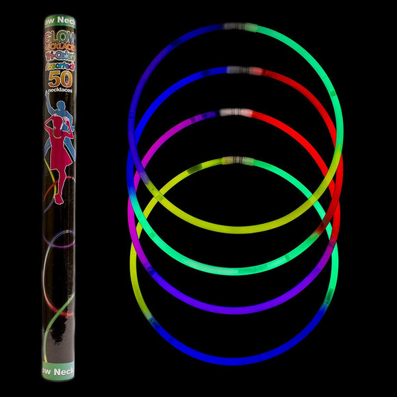 Fun Central I39 22 Inch Premium Glow Necklaces - Assorted Tricolor Mix 100ct