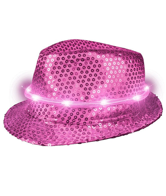 Fun Central T480 LED Light Up Sequin Fedora - Hot Pink