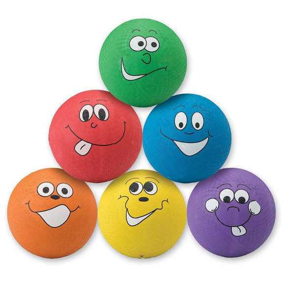 Happy Face Playground Balls - 6 Per Pack