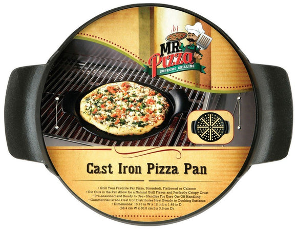Mr Bar B Q 08230MP BR Cast Iron Pizza Pan