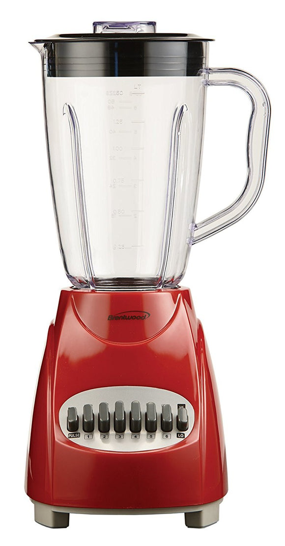 Brentwood JB-220R Appliances 12-Speed Blender with Plastic Jar, Red