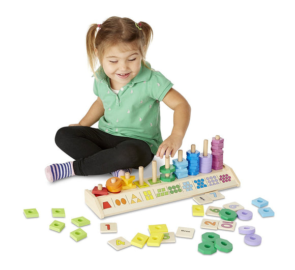 Melissa & Doug Counting Shape Stacker - Wooden Educational Toy With 55 Shapes and 10 Number Tiles