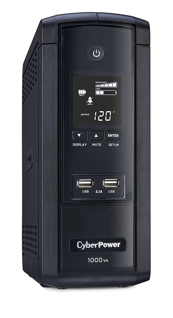 CyberPower BRG1000AVRLCD Intelligent LCD UPS System, 1000VA/600W, 10 Outlets, AVR, Mini-Tower, 5-Year Warranty