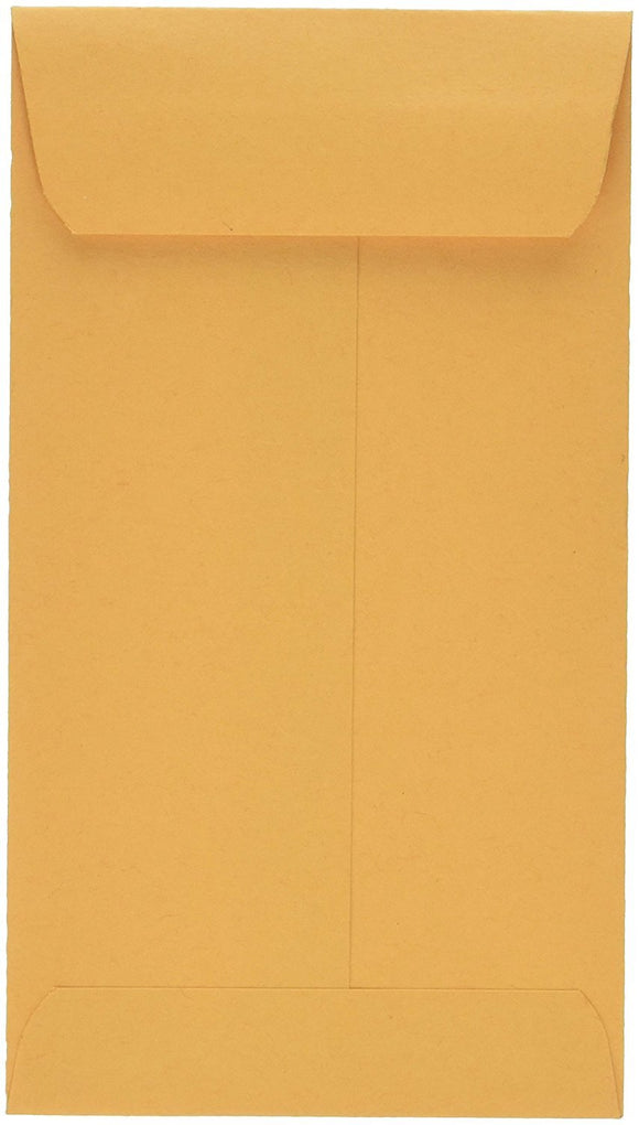 School Smart 28 lb Kraft Coin Envelopes with Gummed Flaps - 3 1/8 in x 5 1/2 in - Box of 500