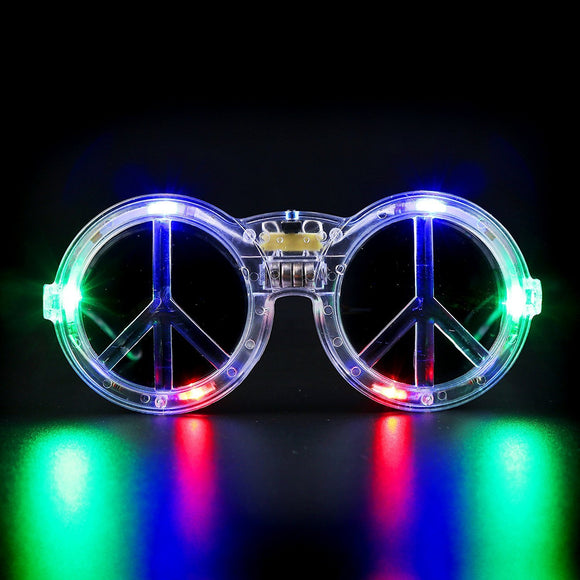 Fun Central G734 LED Light Up Peace Sign Sunglasses - Multicolor