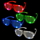 Fun Central (T001) LED Light Up Slotted Shades, LED Glasses, Shutter Glasses - Assorted Colors 12 ct, 3 mode, 6 LEDS per each Light up Sunglasses