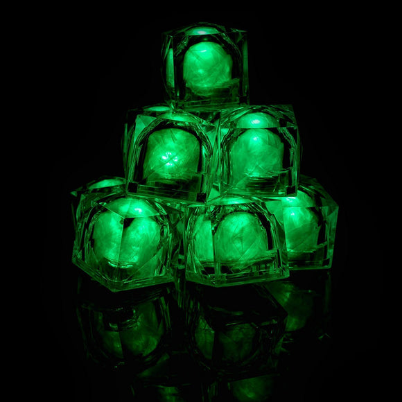 Fun Central AC965 LED Light Up Blinky Ice Cubes - Green - 12 Count